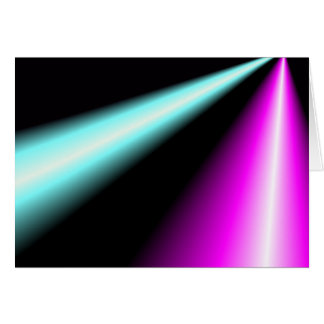 Blue and pink lightbeams on black background greeting card