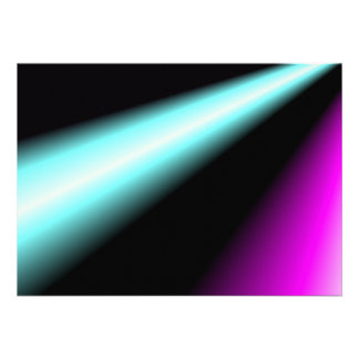 Blue and pink lightbeams on black background personalized invite