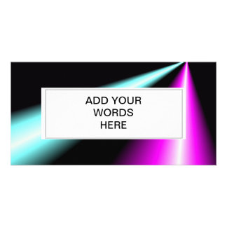 Blue and pink lightbeams on black background customized photo card