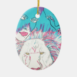 Blue and Pink Lions Ceramic Ornament