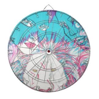 Blue and Pink Lions Dartboard