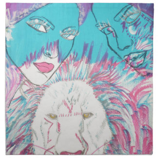 Blue and Pink Lions Napkin