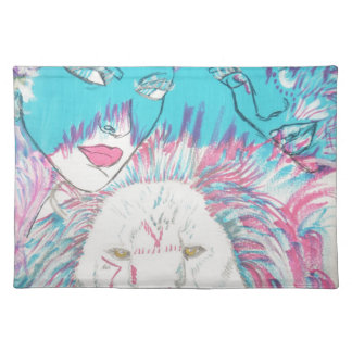 Blue and Pink Lions Placemat