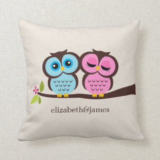 Blue and Pink Owls Wedding Pillow