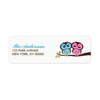 Blue and Pink Owls Wedding Return Address Label