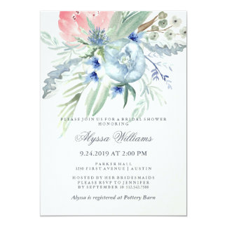 """Blue and Pink Peony Watercolor Bridal Shower 5"""" X 7"""" Invitation Card"""