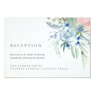 Blue and Pink Peony Watercolor Wedding Reception Card