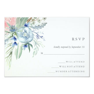 """Blue and Pink Peony Watercolor Wedding RSVP 3.5"""" X 5"""" Invitation Card"""