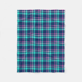 Blue and pink plaid fleece blanket