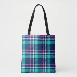 Blue and pink plaid tote bag