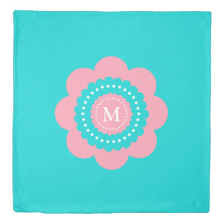 Blue and Pink Polka Dot Flower Monogram Duvet Cover