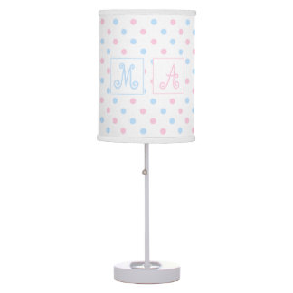 Blue and Pink Polka Dots Monogrammed Twins Table Lamp