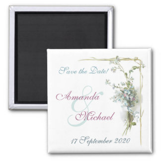 Blue and pink save the date square magnet