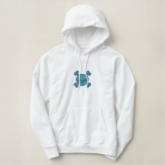 blue and pink skull and crossbones embroidered hoodie
