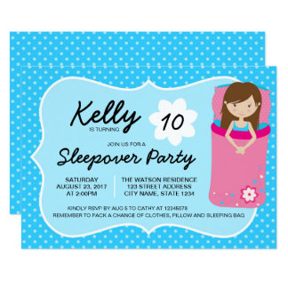Blue and Pink Sleepover Party Birthday Invitation