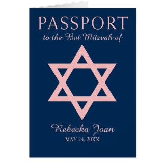 Blue and Pink Star of David Bat Mitzvah Passport Card