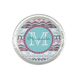Blue and pink striped aztec pattern monogram ring