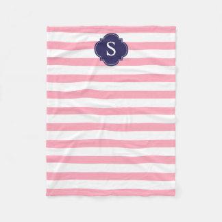 Blue and Pink Stripes Monogram Fleece Blanket
