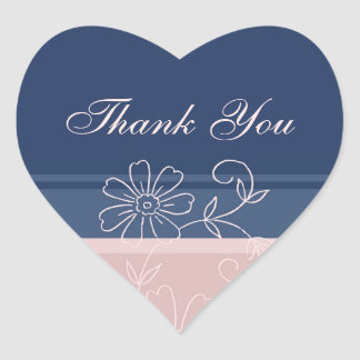 Blue and Pink Thank You Wedding Envelope Seals Heart Sticker