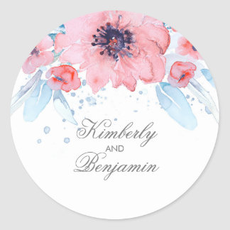 Blue and Pink Watercolor Flowers Elegant Wedding Classic Round Sticker