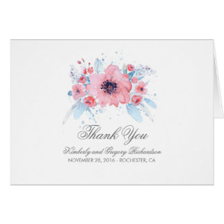 Blue and Pink Watercolor Flowers Wedding Thank You Card