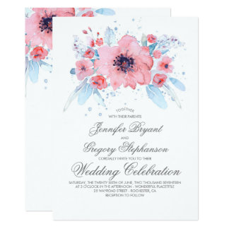 Blue and Pink Watercolors Floral Wedding Card