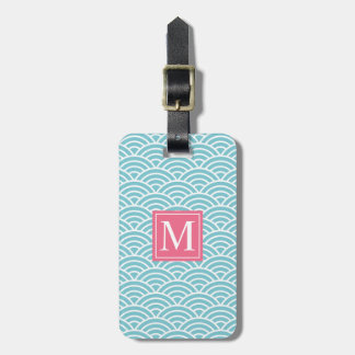 Blue and Pink Wave Pattern Monogram | Luggage Tag