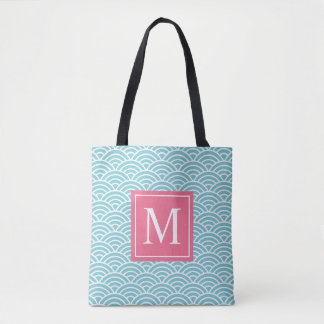 Blue and Pink Wave Pattern Monogram | Tote Bag
