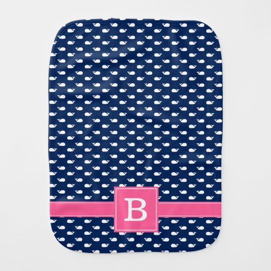 Blue and Pink Whimsical Whales Pattern Monogram Baby Burp Cloths
