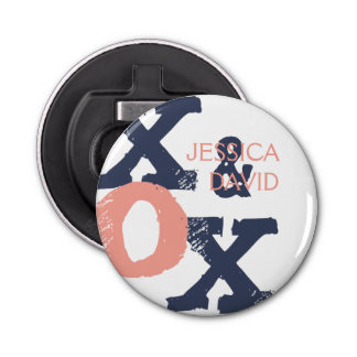 Blue and Pink XOX Wedding Button Bottle Opener