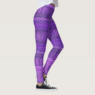 Blue and Purple Abstract Diamond Lattice Pattern Leggings