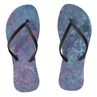 Blue and purple abstract flip flops