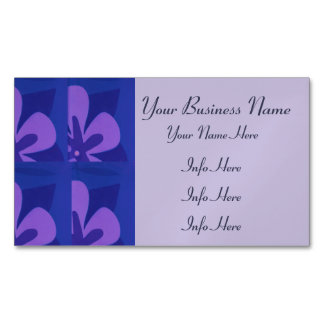 Blue And Purple Abstract Flower Pattern Business Card Magnet