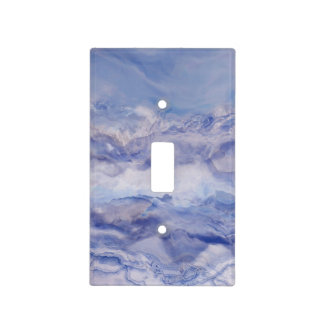Blue and Purple Abstract Ocean Waves Watercolor Light Switch Cover