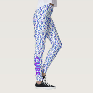 Blue and Purple Awareness Ribbon Angel Leggings