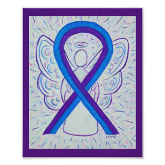 Blue and Purple Awareness Ribbon Angel Poster