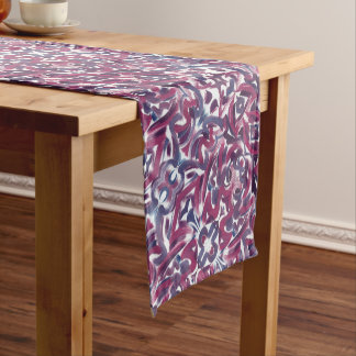Blue And Purple Brushstrokes-Abstract Pattern Short Table Runner