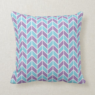 Blue and Purple Chevron Pattern Throw Pillows
