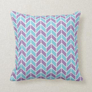 Blue and Purple Chevron Pattern Throw Pillows
