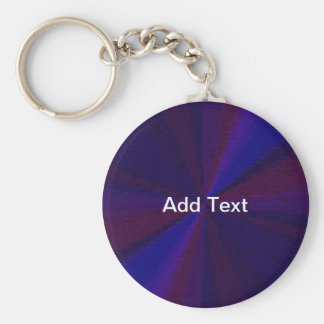 Blue and Purple Circular Patchwork Array 1 Basic Round Button Keychain