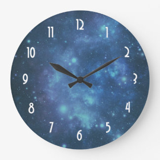 Blue and Purple Cosmic Space Image Large Clock