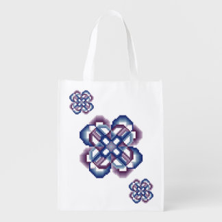 Blue and Purple Crazy Circles Reusable Grocery Bag