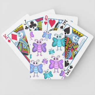 Blue and purple cute butterflies bicycle playing cards