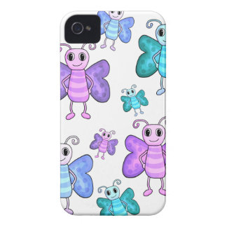Blue and purple cute butterflies iPhone 4 cover