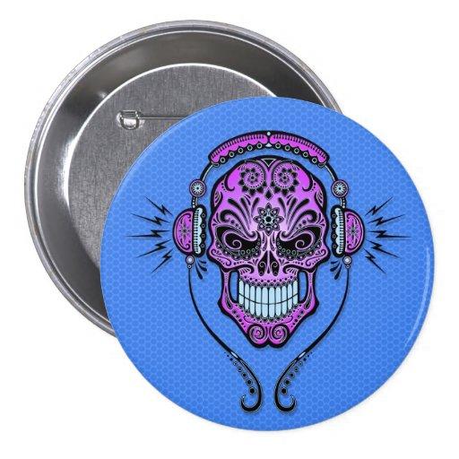 Blue and Purple DJ Sugar Skull Buttons