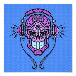 Blue and Purple DJ Sugar Skull Personalized Announcements
