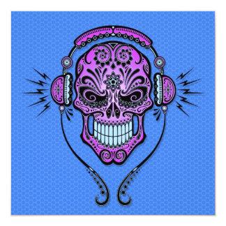 """Blue and Purple DJ Sugar Skull 5.25"""" Square Invitation Card"""