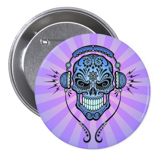 Blue and Purple DJ Sugar Skull with Rays of Light Pinback Button