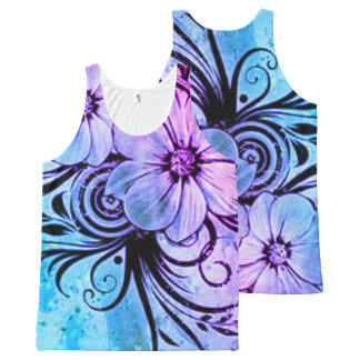 Blue and Purple Floral All-Over-Print Tank Top