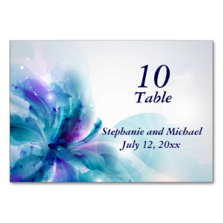 Blue and Purple Floral Design Table Card